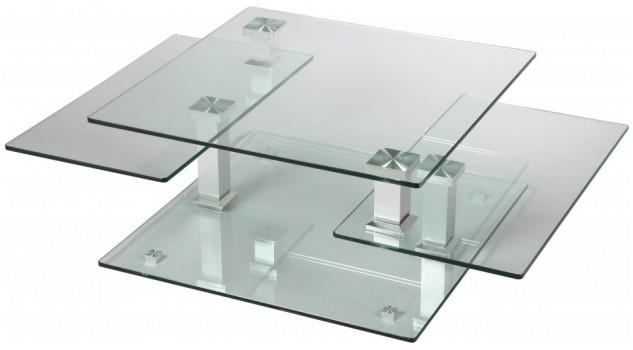 table basse carr e en verre 3 plateaux articul s table de salon design pas cher. Black Bedroom Furniture Sets. Home Design Ideas