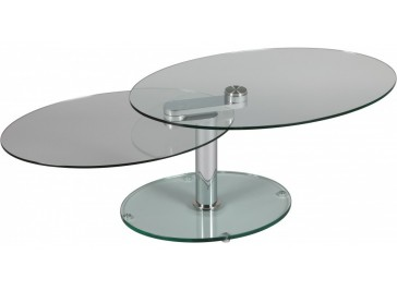 Table basse ovale en verre