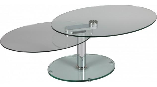 Table basse ovale en verre