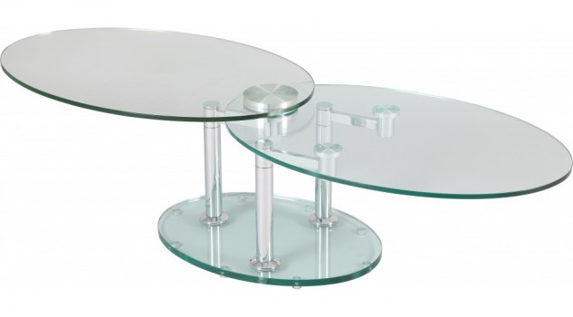Table basse de salon ovale en verre