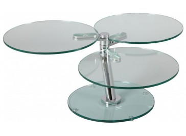 Table basse ronde articulée 3 plateaux verre