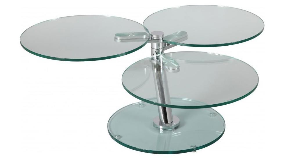 Table Basse Ronde Articulée 3 Plateaux Verre Table Basse Design En