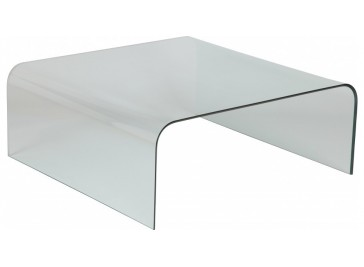 Table basse design verre courbé