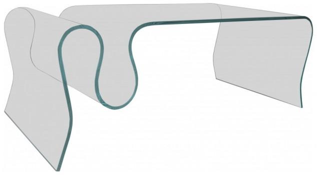 Table basse design verre courbé porte-revues