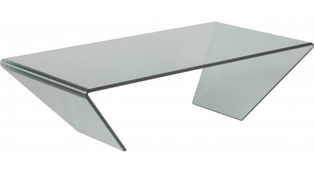 Table basse design verre courbé