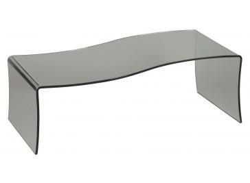 "Table basse design verre en forme de ""S"""