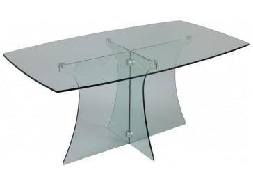 Table de repas rectangulaire en verre trempé
