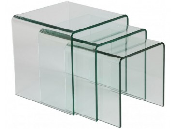 Tables gigognes verre courbé