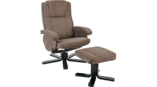 fauteuil relax avec pouf microfibre gris fauteuil relax pas cher. Black Bedroom Furniture Sets. Home Design Ideas