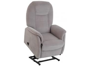 Fauteuil releveur assise basse tissu velours gris foncé