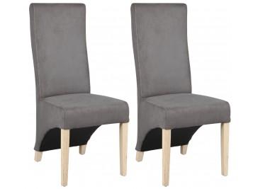 Lot de 2 chaises microfibre grise