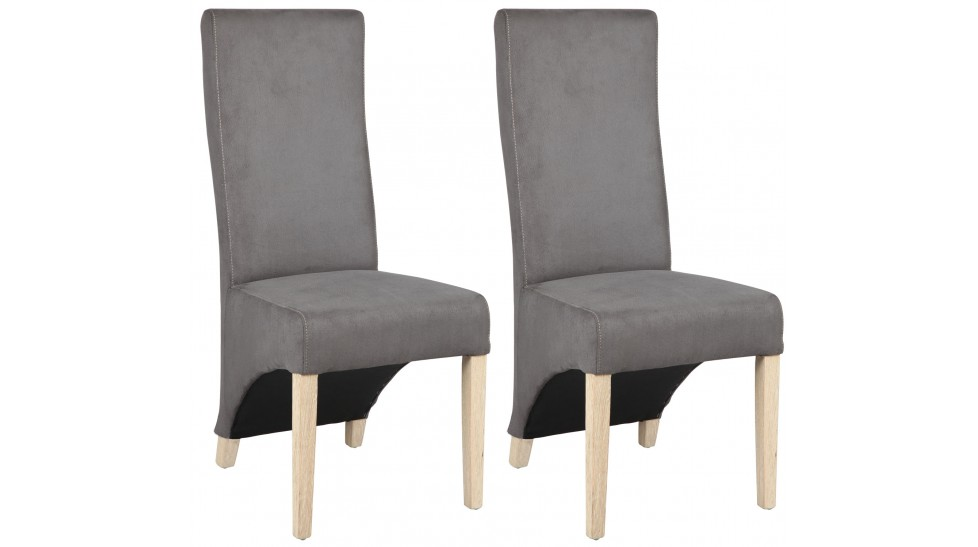 lot de 2 chaises design en microfibre grise. Black Bedroom Furniture Sets. Home Design Ideas