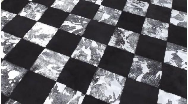 Tapis en peau noir et blanc grisé - Blocks