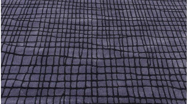 Tapis acrylique violet rayé noir - Disform