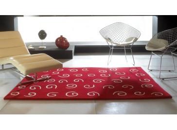 Tapis 100% laine rouge à motifs beiges - Besque
