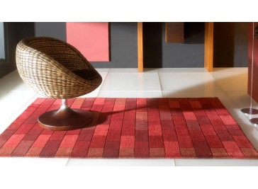 Tapis 100% laine rouge - Bricks