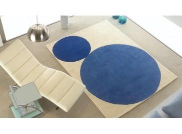 Tapis laine moderne bleu et blanc - Cercles