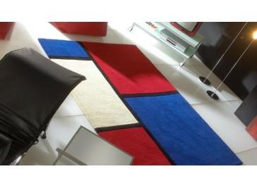 Tapis laine moderne rouge et bleu - Field