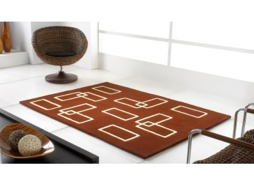 Tapis 100% laine marron et beige - Intersection