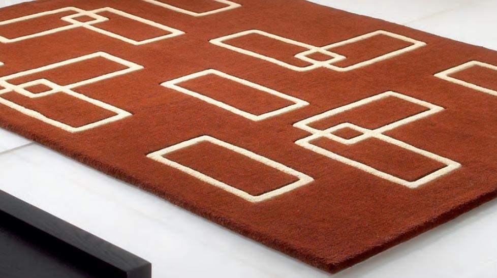 Tapis 100% laine marron et beige - Intersection