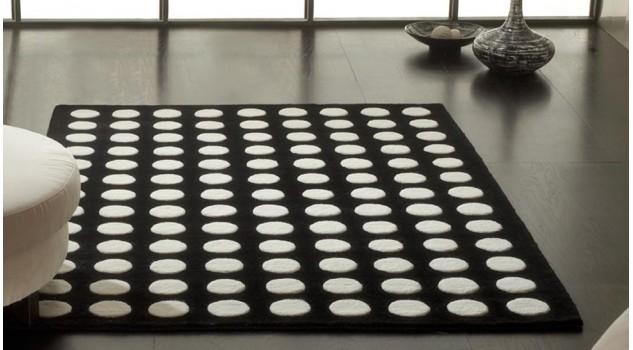 Tapis 100% laine noir et blanc - Pom