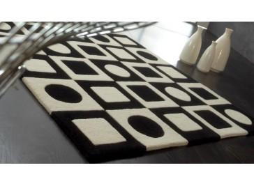 Tapis 100% laine noir et blanc - Simbols