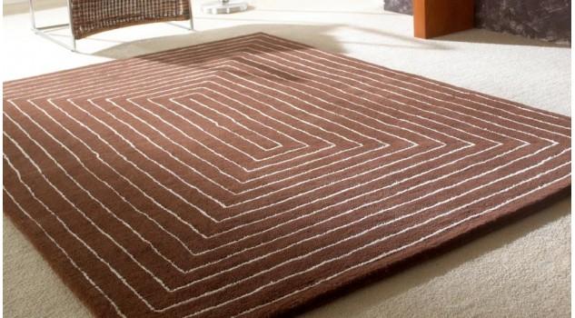 Tapis laine de qualité marron et beige - Tridimensional