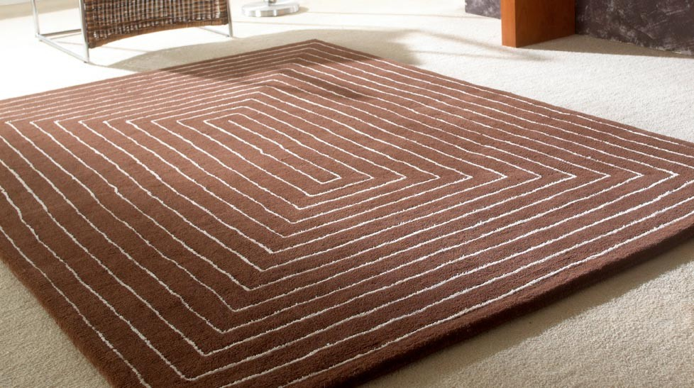 Tapis laine marron qualité haut de gamme - Tapis tufté main