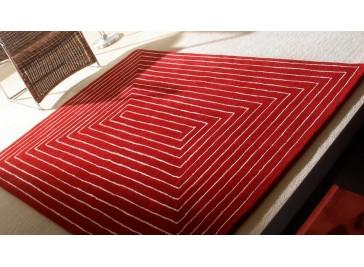 Tapis 100% laine tufté main rouge - Tridimentional