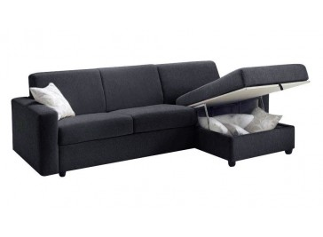 Canapé d'angle convertible tissu gris anthracite coffre rangement