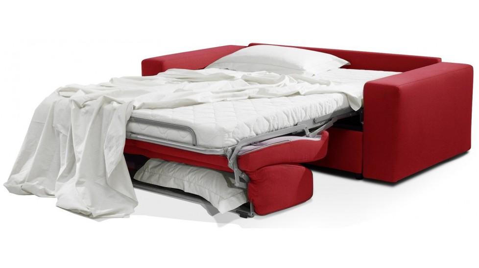 meilleure sélection a7dad cc30b Canapé convertible microfibre rouge 3 places lit 140 cm - Sofia