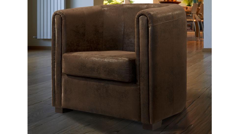 fauteuil cabriolet microfibre aspect cuir vieilli marron - Cabriolet Fauteuil