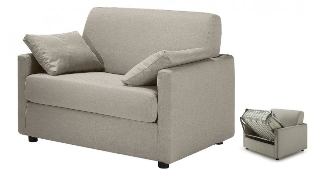 fauteuil lit convertible tissu greige - David
