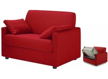 fauteuil lit convertible tissu rouge - David