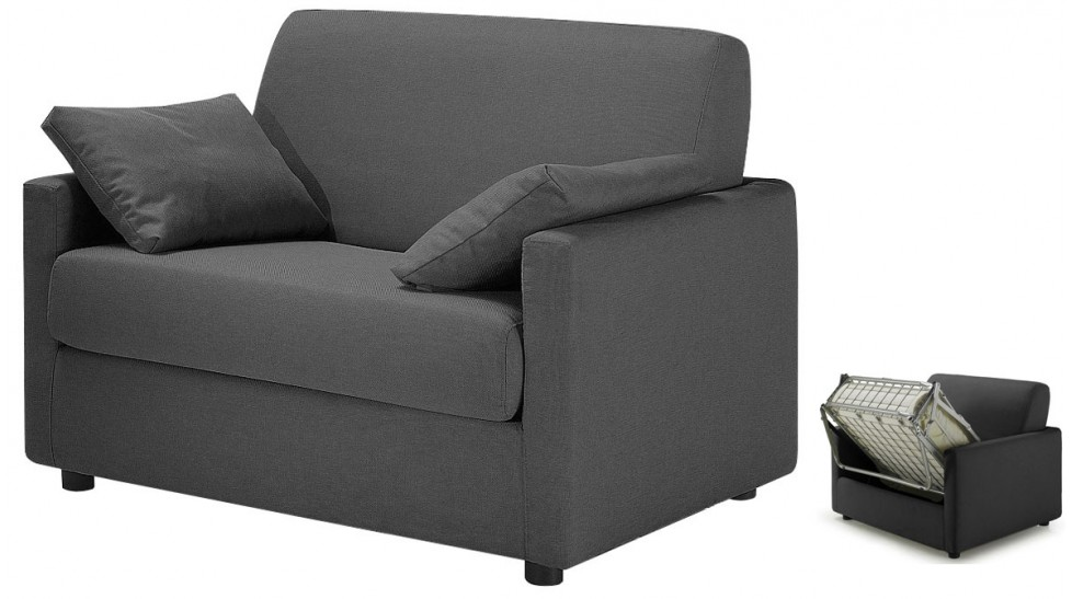 fauteuil lit tissu gris anthracite fauteuil convertible pas cher. Black Bedroom Furniture Sets. Home Design Ideas