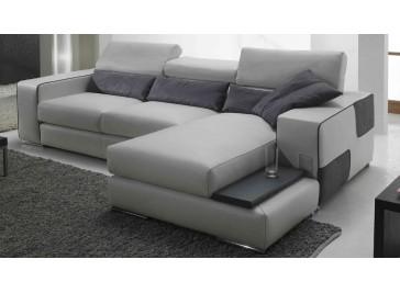 Canapé d'angle réversible en cuir blanc - Marge