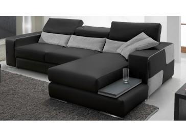 Canapé d'angle réversible en cuir noir haut de gamme italie