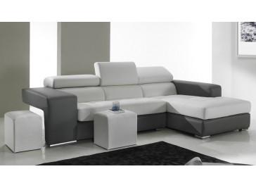 Canapé d'angle en cuir noir et blanc haut de gamme