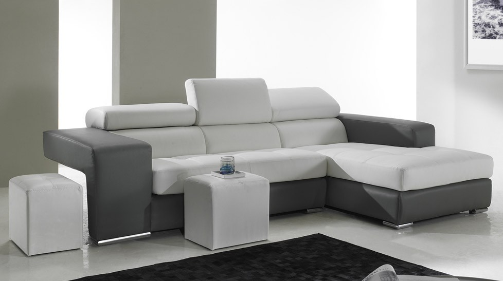 canapé d'angle en cuir noir et blanc pas cher - canapé angle design