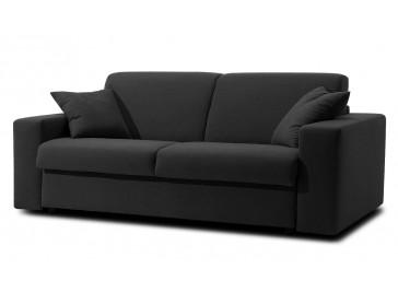 Canapé-lit 2 places tissu noir pas cher