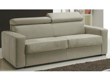 Détail assise canapé lit microfibre beige